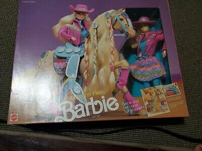 Vintage Western Fun Barbie Gift Set With Horse Sun new box not sealed