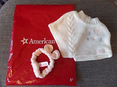 """American Girl 18"""" Doll White Knit Poncho AND Pink Headband NEW in AG Bag"""