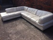 Leather Corner Lounge Suite - 5 Seater - Off White Concord West Canada Bay Area Preview