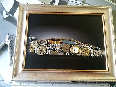 Aventador Art Steampunk Silver Frame Working Clock Approx 13x10 inches