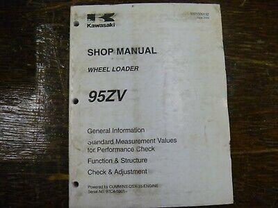 Kawasaki 95zv Wheel Loader Factory Adjustment Shop Service Repair Manual