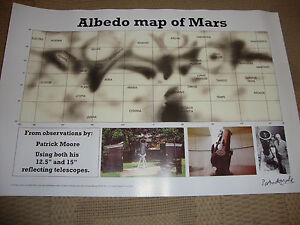 SIR-PATRICK-MOORE-deceased-personally-signed-Ltd-Edition-MARS-ALBEDO-map-17x12