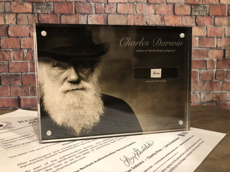 CHARLES DARWIN 1850 HANDWRITTEN SIGNED JSA LOA BECKETT HISTORIC DISPLAY