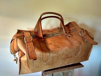70er jahre Retro Vintage Leder Reisetasche Tragetasche 48cm lang ()