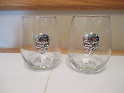NWT- Set of 2 (Two) Wine Glasses Goblet Silver SKULL Medallion - Halloween Medallions