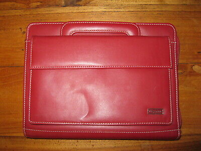 Franklin Covey Day One Red Simulated Leather Zip Binder Planner 5.5 X 11 Handles
