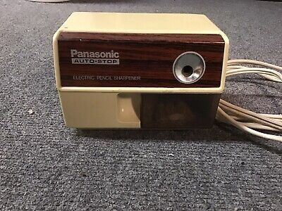 Vintage Panasonic Electric Pencil Sharpener Kp-110 With Auto-stop Wood Grain