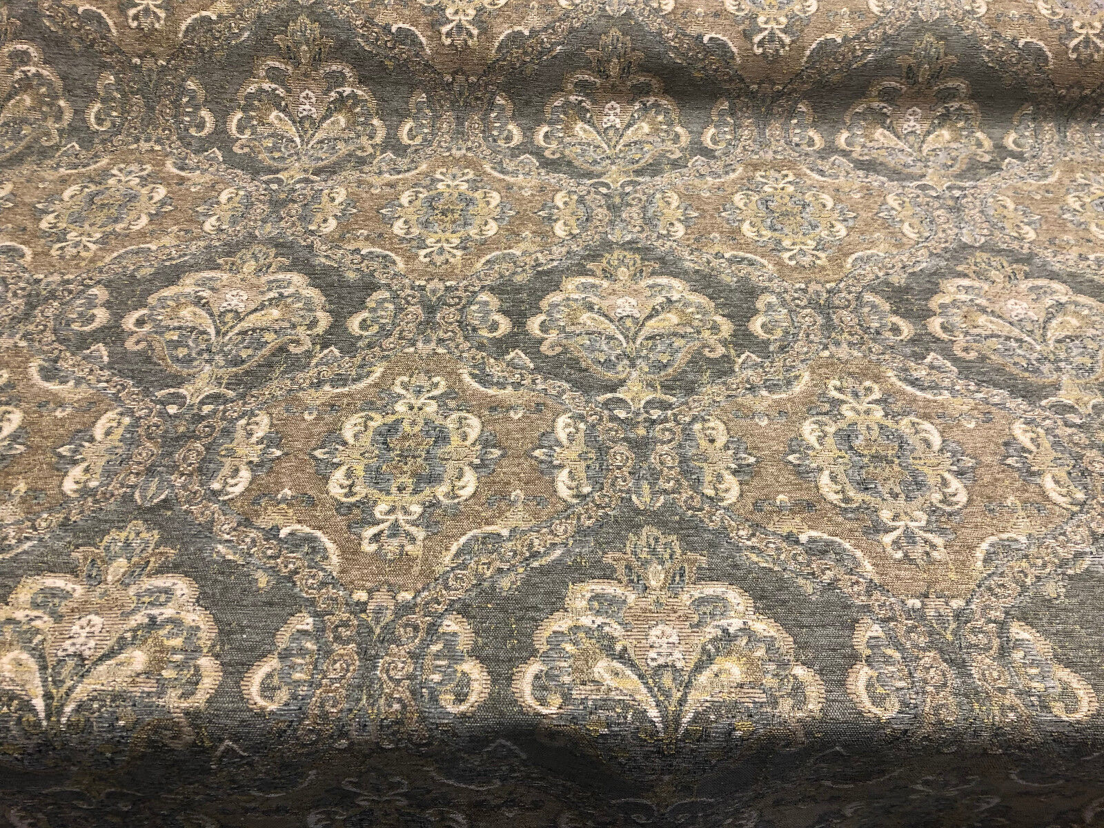 Abia Damask Twine Antique Upholstery Fabric by the yard sofa