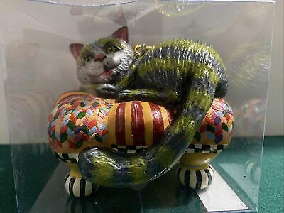 New CHESHIRE CAT on MacKenzie Childs TUFFET Ottoman Alice wonderland Ornament
