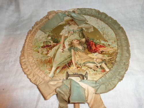 Scarce Antique C.N. Calkins Sewing Machine New House Hand Held Advertising Fan