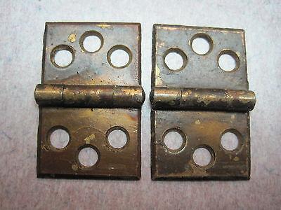 2 Antique Victorian Brass plate Shutter Window Hardware Hinge Vintage Pair 6
