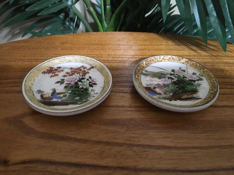 Set Of 2 Vintage Japan Satsuma Porcelain Hand Painted Miniature Plates