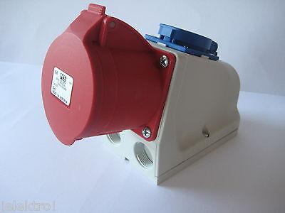 CEE 32A Wanddose 5pol. mit Schukosteckdose Combo passend für 32A Stecker