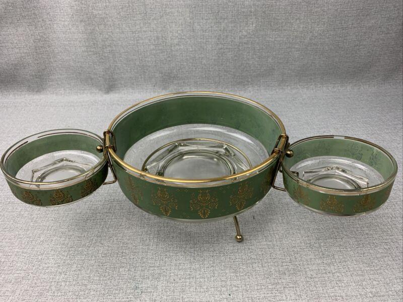 Jeannette Glass 3 Piece Chip & Dip Or Salad Bowl Set Green & Gold W/ Lyre MCM