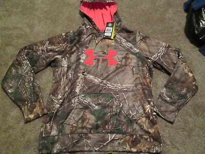 NEW Womens UNDER ARMOUR REAL TREE CAMO XTRA Hoodie w/ Pink BIG LOGO SM MUST SEE!