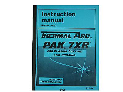 Thermal Dynamics Pak 7 Xr Plasma Cutter Instruction Servicing Manual 973