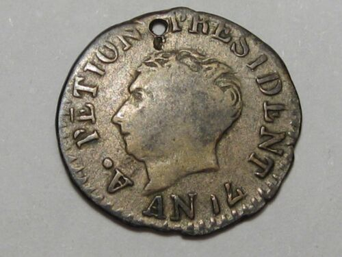 RARE AN14 (1817) 25 Centimes of Haiti (Silver w/ Hole).  #137