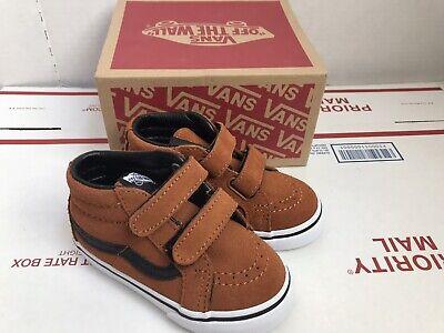 Toddler Vans Sk8 Mid Suede Shoes Glazed (Ginger & Black) SZ 6