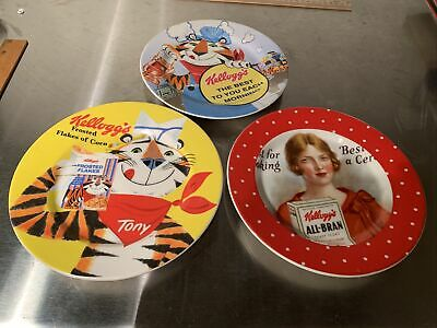 LOT of 3 - Vintage - Kellogs - Frosted Flakes And All Bran Plates 8""
