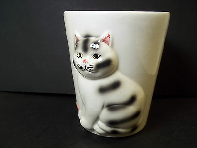Vintage Bathroom Mug 3 Dimensional grey tabby kitty cat & yarn ball Baum Bros