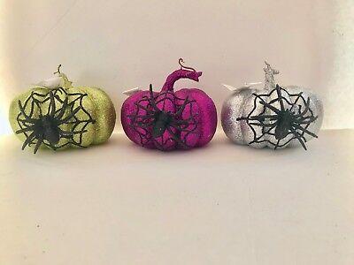 Halloween Floral Pumpkin Spider Web Glitter Wreath/arrangement/Tree Decor Craft