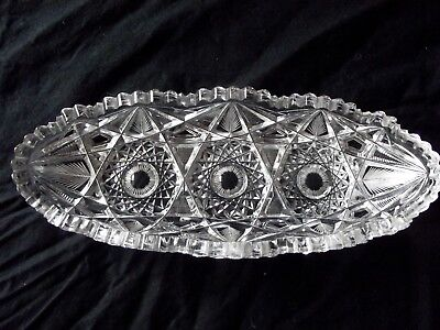 OVAL RELISH CELERY DISH oblong bowl American Brilliant ABP cut Glass crystal Oval-relish