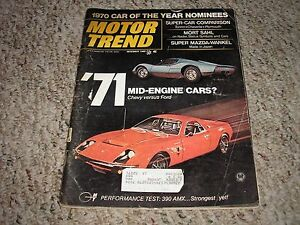 Dec 1969 motor trend 1970 car of the year 71 mid engine for Does ebay motors ship cars