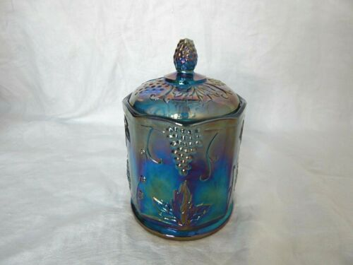 VTG INDIANA BLUE IRIDESCENT CARNIVAL GLASS CANDY JAR WITH LID HARVEST GRAPE