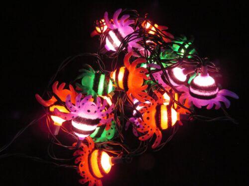 Vintage Colorful Spider Lights 2 Strings Of 10 Halloween Indoor Decoration