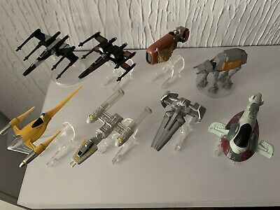 RARE Star Wars Hot Wheels Die Cast Star ships Bundle x 8 With Official Stands