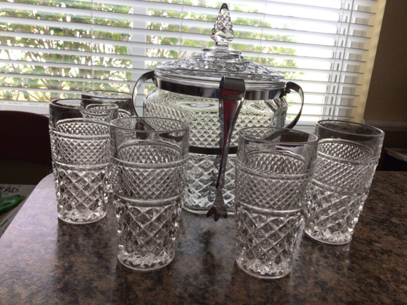 Vintage Set Of 5 Anchor Hocking Wexford Glasses And Ice Bucket With Tongs