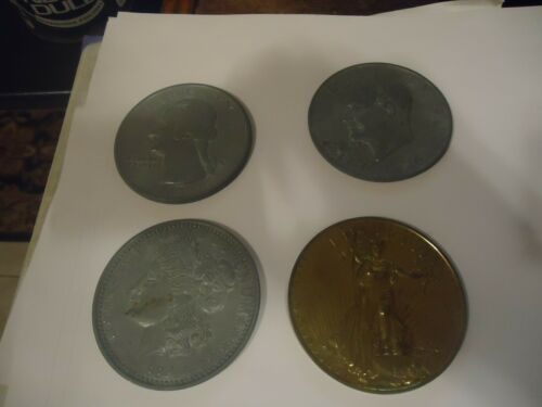 4 Large 3 In Novelty Medal/Coin/Coaster/Paperweight  1976 Quarter & Dollar