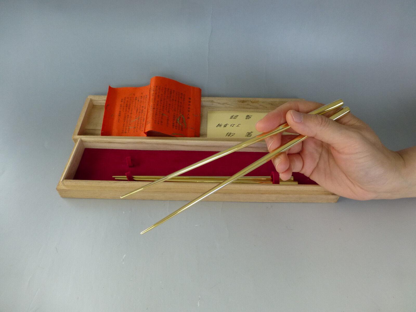 ANTIQUE JAPANESE STERLING SILVER WITH GOLD GILT CHOPSTICKS 2 SET IN WOODEN CASE