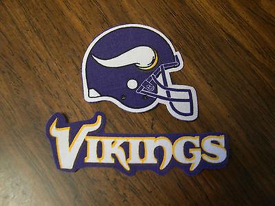 """Minnesota Vikings  Iron on Cotton Patch 3 x 2 1/2"""" & 4 x 1 1/2"""" NEW"""
