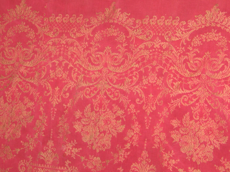 c1800s Antique Throw Table Coverlet Stitched Woven Red & Tan