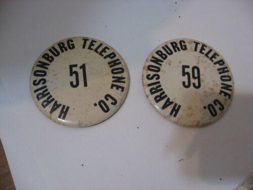 2 OLD ORIGINAL HARRISONBURG VIRGINIA VA TELEPHONE CO PIN BADGE ID