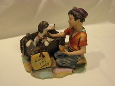 "Dog For Sale Figurine ~ Joys Best Friend by Gino ~ 2866 ~ Approx. 6"" X 6"""
