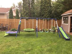 SOLD - Swing set with trampoline
