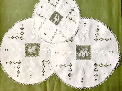 Three Antique White Doilies Darned Inserts Punto-trafore Hand Made Embroidery