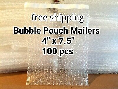 Lots Of 100 4 X 7.5 Bubble Out Bags Pouches Self Seal Mailers Bags Wrap Clear