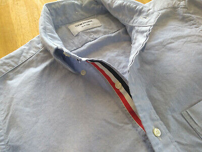 NWOT Thom Browne Blue Oxford Cloth Button Down Grosgrain TB1 14.5-31.5 MSRP $425