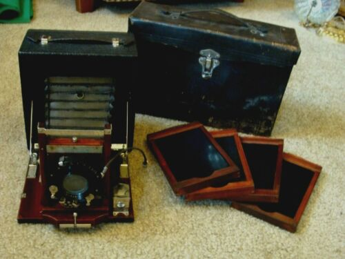 Antique CONLEY 1907 FOLDING CAMERA ANASTIGMAT LENS w/ CASE + 4 PLATES NICE