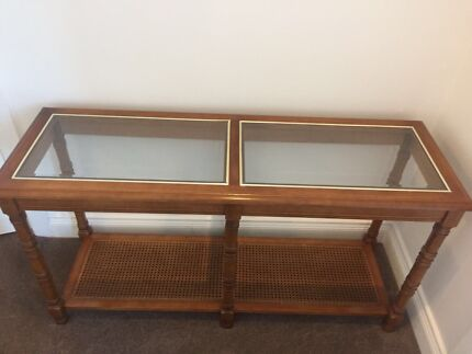 Glass & timber coffee table with matching ensemble table