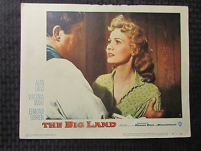 "1957 THE BIG LAND Original 14x11"" Lobby Card VG- 3.5 Virginia Mayo Alan Ladd"
