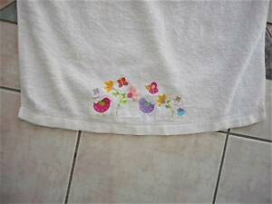 Pretty Girls Bath Towel White with birds butterflies flowers Carindale Brisbane South East Preview