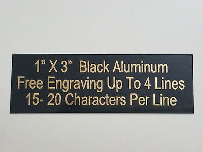 1x3 Aluminum Black Name Plate Gold Color Letters For Trophies Gifts