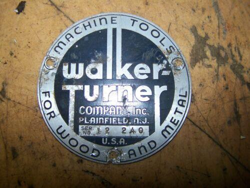 """Walker Turner 6"""" Jointer Name Plate Badge"""