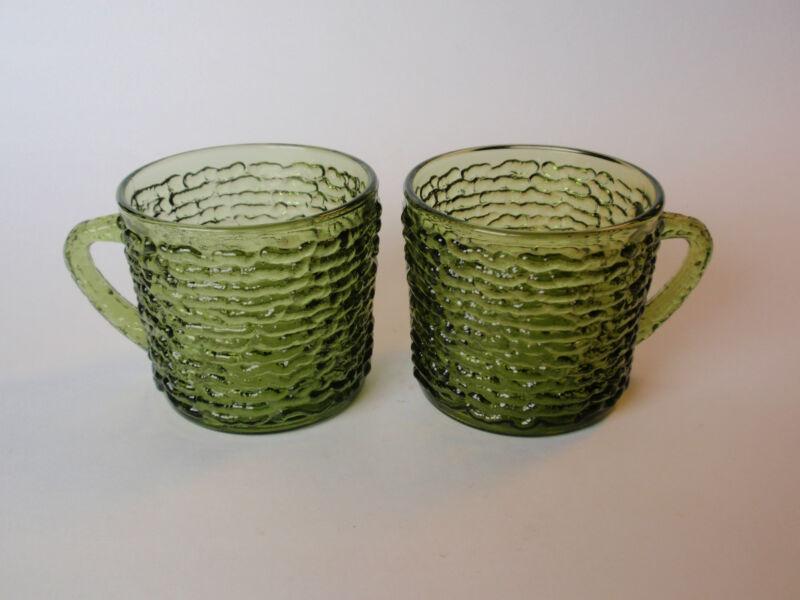 Vintage Anchor Hocking Avocado Green Soreno Snack Set Mugs Pair 2 Rippled Ribbed