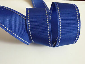 ✨ Navy Blue Grosgrain & Silver Wire Edged Ribbon 38mm wide  ✨