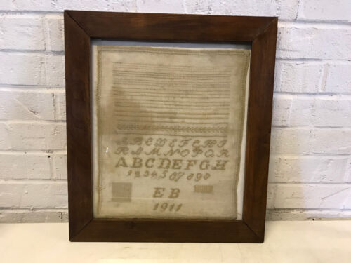 Vintage 1911 Signed EB Hand Stitched Needlepoint Framed Sampler ABC & Numbers